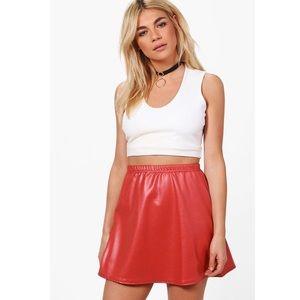 Boohoo Gigi Wet Look Scuba A Line Mini Skirt